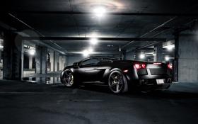 Обои свет, трубы, чёрный, лампа, Lamborghini, лужа, парковка