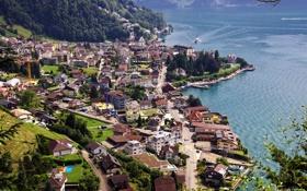 Обои озеро, берег, дома, Швейцария, вид сверху, Lake Lucerne, Gersau