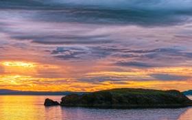 Картинка закат, остров, залив