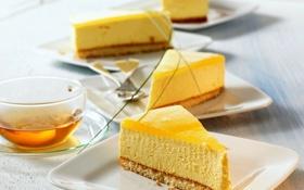 Обои чай, еда, чашка, торт, пирожное, фрукты, манго