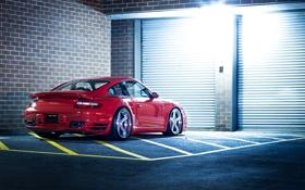 Обои 911, Porsche, Red, Glow, Lights, Night, Turbo