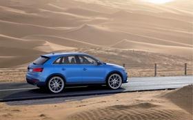Обои Audi, Песок, Дорога, Синий, Пустыня, Машина, В Движении