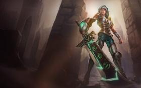 Картинка девушка, меч, доспехи, колонны, руны, League of Legends, LoL