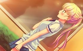 Обои девушка, закат, удивление, art, смущение, no pantsu!!, konoshiro sayori