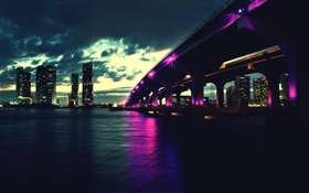 Картинка ночь, мост, город, Флорида, Miami, Florida, Майями