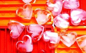 Обои лед, капли, сердечки, форма