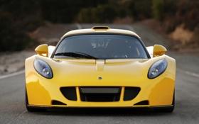 Обои желтый, спорткар, лотус, вид спереди, Hennessey, Lotus Venom GT