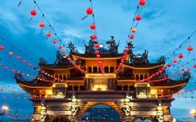 Обои украшения, фонарики, Малайзия, Пенанг, Храм девяти императорских богов