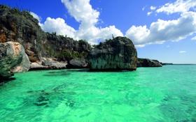 Обои скалы, остров, Вода