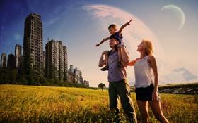 Картинка поле, солнце, природа, город, семья, арт