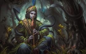 Обои лес, змеи, деревья, арт, парень, дудочка