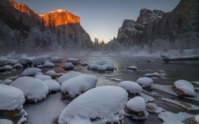 Картинка Frozen, Yosemite National Park, Gates of the Valley