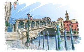 Обои мост, арт, лестница, фонарь, Венеция, канал