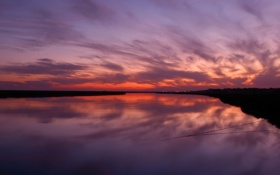 Картинка небо, вода, ночь, озеро, фото, пейзажи, верёвка