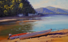 Обои река, artsaus, арт, рисунок, patonga creek, лодки