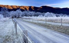 Картинка деревья, дорога, иней, Зима, горы, небо, забор