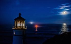 Картинка море, небо, ночь, огни, луна, маяк