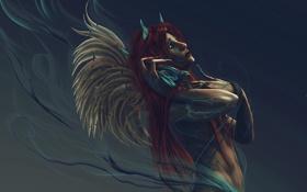 Обои крылья, рога, слушает, дым, ангел