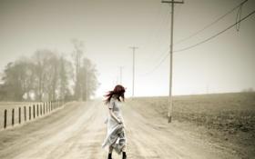 Картинка дорога, девушка, фон
