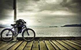 Обои море, велосипед, причал, bike, привал