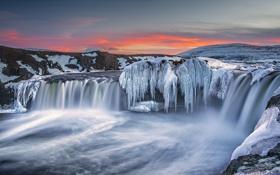 Обои лед, закат, водопад, Исландия, замороженные, Годафосс