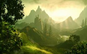 Обои art, река, Fairylands, Jesper Lund, арт, горы, башня