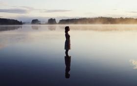 Картинка девушка, озеро, настроение, утро