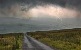 Обои дорога, тучи, молния, поля