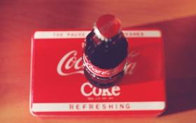 Обои бутылка, напиток, coca-cola