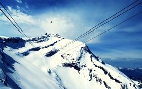 Обои вершина, небо, фото, красиво, горы, снег, канатная дорога