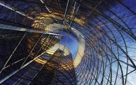 Обои небо, стекло, металл, конструкция, окна, архитектура