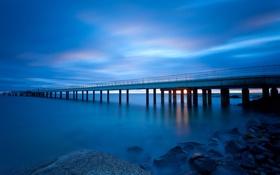 Обои мост, ночь, море