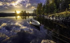 Картинка озеро, лодка, утро
