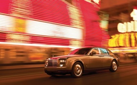 Обои ночь, огни, скорость, Phantom, Rolls Royce, ночной город, 2009