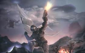 Картинка оружие, флаг, герой, halo