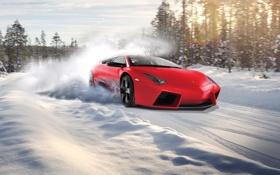 Обои зима, лес, солнце, снег, Lamborghini, Reventon, red