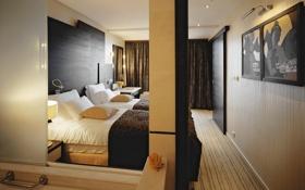 Обои кровать, картина, номер, подушка, спальня, гостиница
