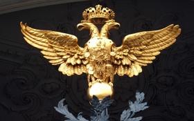 Обои орел, корона, статуя, двухглавый