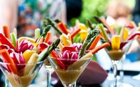 Картинка краски, бокалы, коктейль, овощи