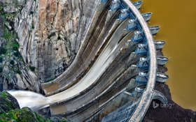 Обои вода, горы, озеро, поток, плотина, Испания, Саламанка