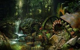 Картинка лес, река, камни, механизм, водопад, мох, арт