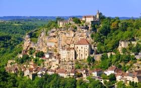 Картинка скалы, деревья, дома, Dordogne, Франция, панорама