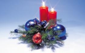 Обои шары, свечи, Новый год