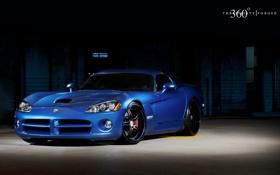 Обои синий, Dodge, Viper, додж, вайпер, blue, передняя часть