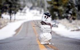 Картинка зима, дорога, снеговик