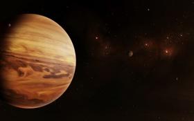 Обои звезды, спутники, бесконечность, газовый гигант