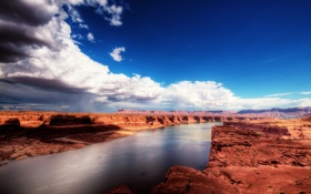 Обои небо, облака, природа, река, каньон