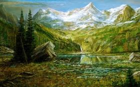 Картинка лес, горы, озеро, картина, олени