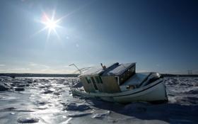 Картинка лед, зима, небо, солнце, лучи, пейзаж, природа