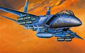 Обои авиация, истребитель, самолёт, ВВС, F-15E, двухместный